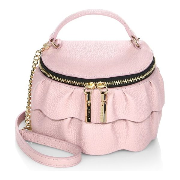 Milly astor ruffle zip-top leather crossbody bag in dustyrose - Rounded leather crossbody with femme ruffled tiers. Top...