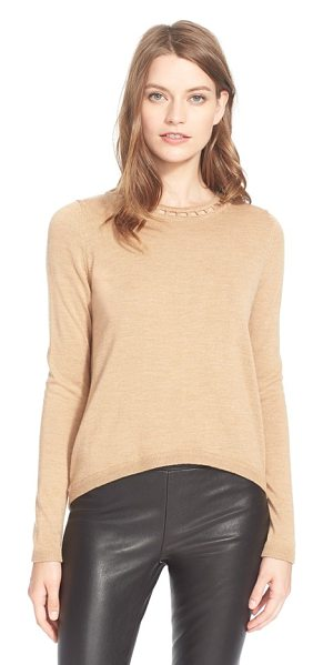 MILLY bar inset wool sweater - A charming openwork collar hints at the bold bar-inset...
