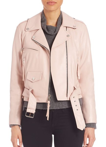 Milly belted leather moto jacket in petal - Asymmetric zip-front jacket in luscious leather. Notched...