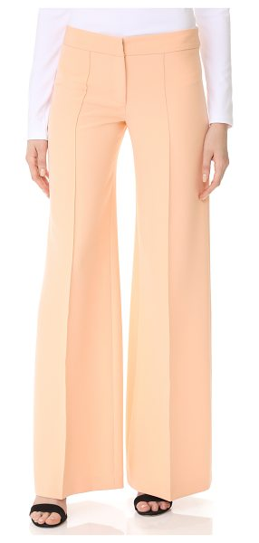 MILLY cady flare pants - Vertical pintucks elongate the look of these wide-leg...