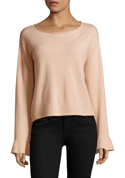 Milly cashmere flare sleeves in ballet - Cashmere sweater with ribbed cuffs. Roundneck. Long...