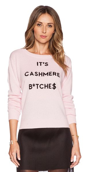 Milly Cashmere intarsia sweater in pink - 100% cashmere. Dry clean only. Embroidered front...