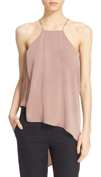 MILLY ciara asymmetrical stretch silk tank - A fluttering, asymmetrical overlay creates eye-catching...