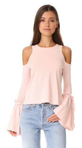 Milly cold shoulder tie top in ballet - A crew-neck Milly top with cutout shoulders and...