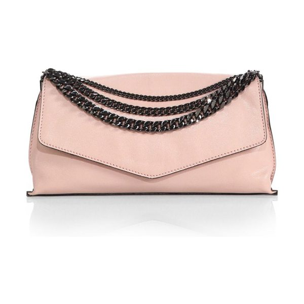 Milly Collins chain clutch in blush - Soft, buttery leather is cut in a relaxed envelope...