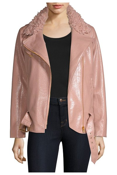 276f2e422bd Milly Crinkle Faux Shearling & Faux Leather Jacket | Nudevotion