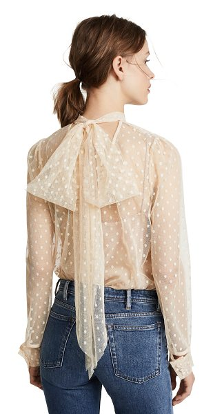 Milly dot tulle kitty blouse in nude - A tie neckline adds a charming finish to this polka-dot...