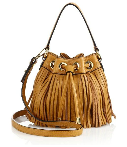 Milly essex fringe small drawstring bag in caramel