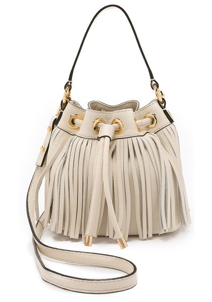 Milly Essex small fringe bucket bag in bone