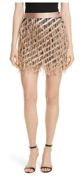 Milly fil coupe diagonal stripe miniskirt in blush - The frayed edges of diagonal stripes create a festive...