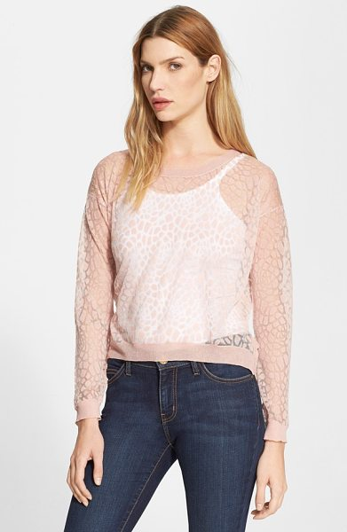 Milly invisible lace pullover in petal - A gentle, blushing hue tames the burnout-knit, big-cat...
