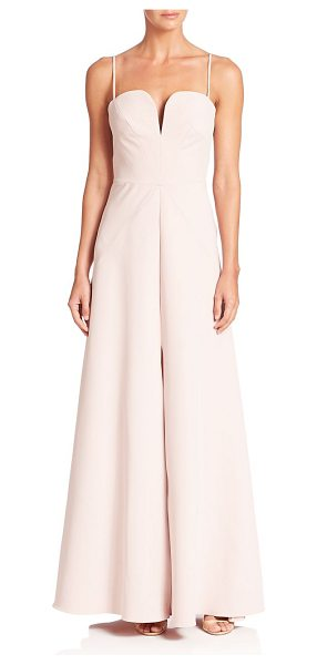 Milly italian cady ana gown in petal - Feminine A-line gown updated with front slit. Notched...