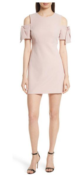 MILLY italian cady mod tie cold shoulder minidress - Flouncy ties at the shoulder-baring sleeves keep the...
