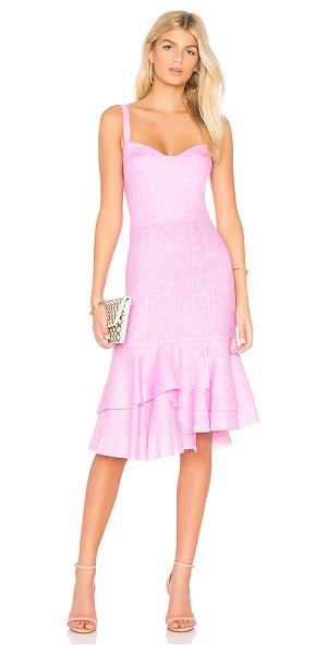 Milly Kendal Dress in pink - Linen blend. Dry clean only. Fully lined. Layered ruffle...