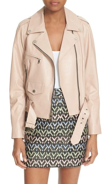 Milly leather moto jacket in petal -