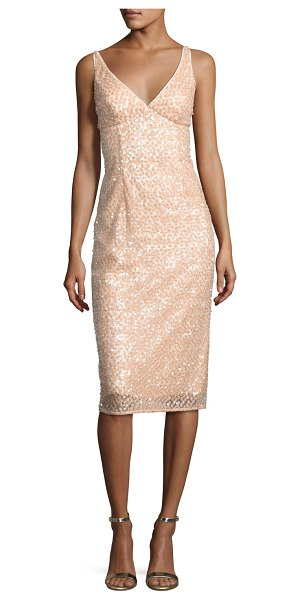 "Milly Liz Sleeveless Sequined Floral Cocktail Dress in nude - EXCLUSIVELY AT NEIMAN MARCUS Milly ""Liz"" cocktail dress..."