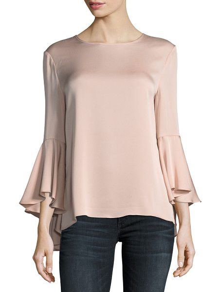Milly Long Bell-Sleeve Stretch-Silk Blouse in ballet - EXCLUSIVELY AT NEIMAN MARCUS Milly blouse in signature...