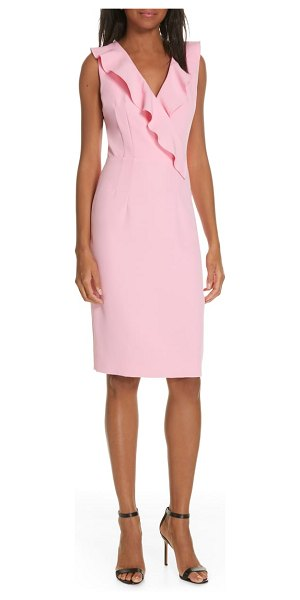 Milly luna ruffle detail cady sheath dress in pink - Rippled with ruffles, this joyful dress is cut in a...