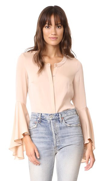 Milly michelle silk blouse in ballet - Dramatic, flared cuffs add a bold element to this...