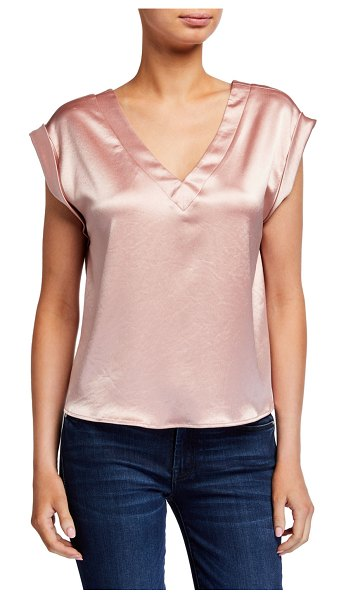 Milly Mila Reversible Hammered Satin Top in blush