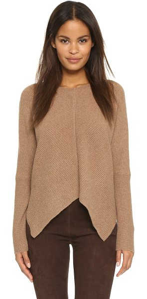 Milly Mitered architectural pullover in camel - A cropped profile and uneven hem lend a modern look to...