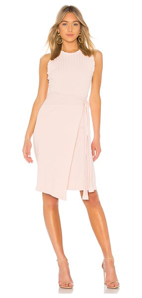 Milly Ruffle Tie Wrap Dress in blush - 81% viscose 16% poly 3% spandex. Dry clean only....