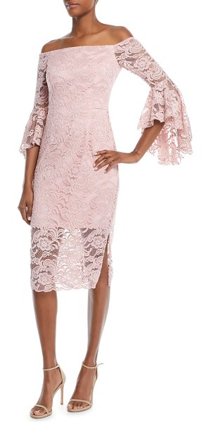 "Milly Selena Stretch Lace Off-the-Shoulder Dress in blush - Milly lace stretch ""Selena"" dress. Approx. 38""L down..."