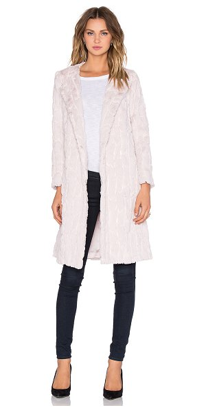 Milly Sequin faux fur coat in blush - 100% poly. Dry clean only. Hook front closure. Sequin...