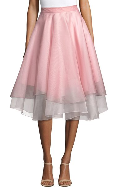 Milly a-line pleated skirt in petal - Chic layered A-line cotton-blend skirt in semi-sheer...