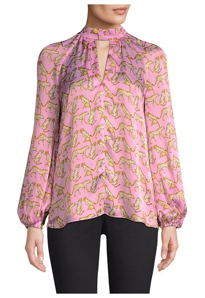 Milly silk cheetah-print mockneck blouse in pink - Flowy peasant blouse finished with a chic cheetah print...