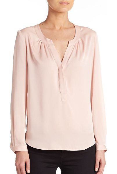 Milly Stretch-silk pullover blouse in blush