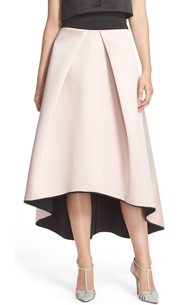 Milly tuck pleat duchess satin ball skirt in blush - Bold tucked pleats create rippling movement over a...