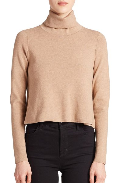 Milly Turtleneck sweater in camel - A cropped design updates this classic turtleneck...