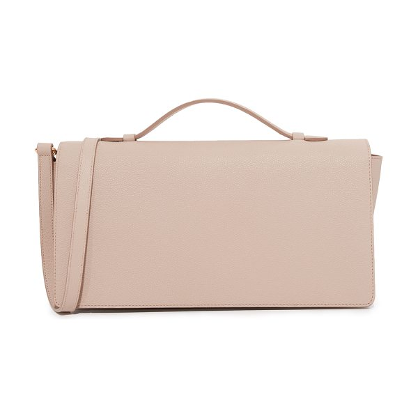 MILMA urban flap mini satchel in nude - A structured MILMA bag in pebbled leather. Top flap and...
