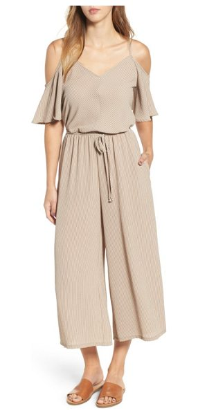 Mimi Chica cold shoulder crop jumpsuit in tan/ white stripe - Subtle pinstripes add the perfect amount of visual...