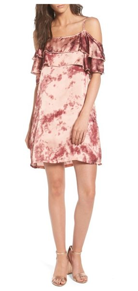Mimi Chica print off the shoulder satin dress in mauve - Playfully mottled with shades of rose and raspberry,...