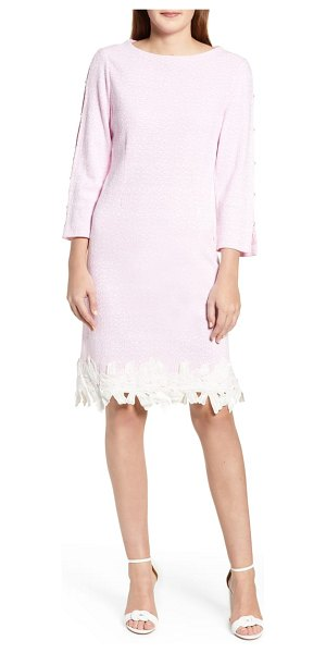 Ming Wang lace trim knit dress in pink