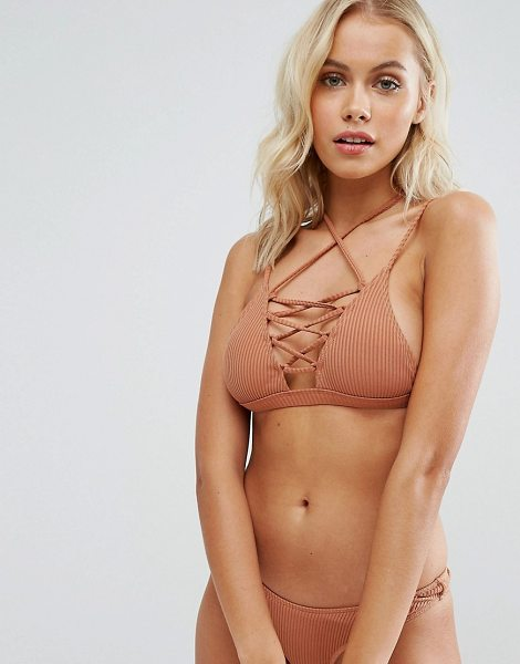 MINIMALE ANIMALE Lace Up Bikini Top - Bikini top by Minimale Animale, Ribbed swim fabric,...
