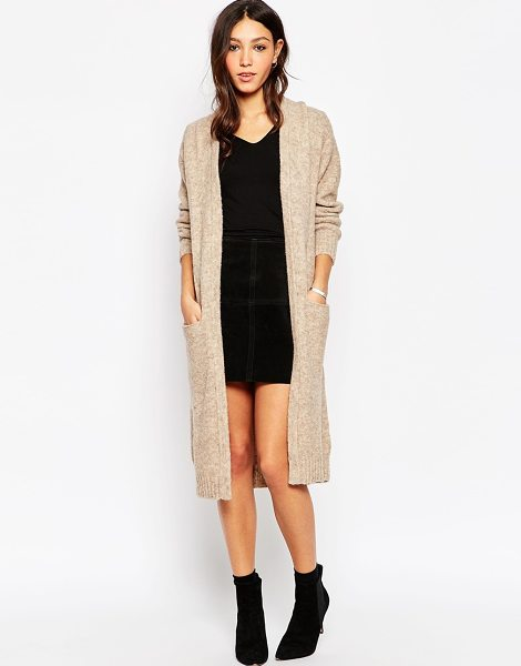 Minimum Maxi cardigan with front pockets in 043 sand - Cardigan by Minimum Lightweight fluffy knit Open front...