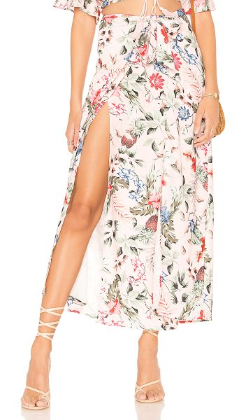 "Minkpink Aloha Maxi Skirt in pink - ""100% poly. Unlined. Elasticized waist. Draped front..."