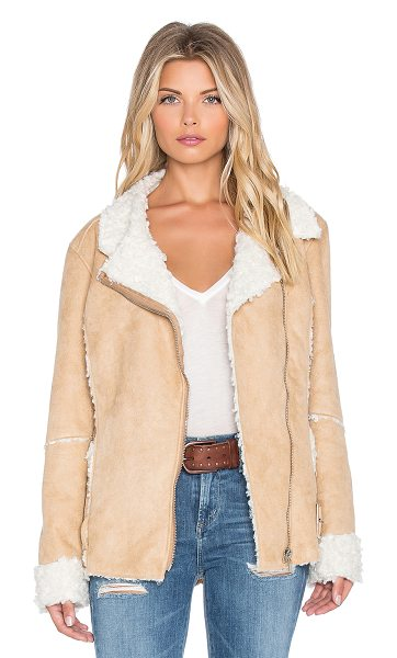 Minkpink Believe again faux fur jacket in tan - 100% poly. Dry clean only. Zip front closure. Faux fur...