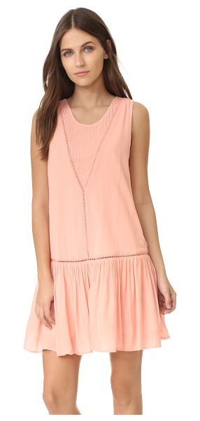 Minkpink Minkpink Blushing Beach Drop Waist Dress in blush pink - Tonal, crocheted insets bring delicate detail to this...