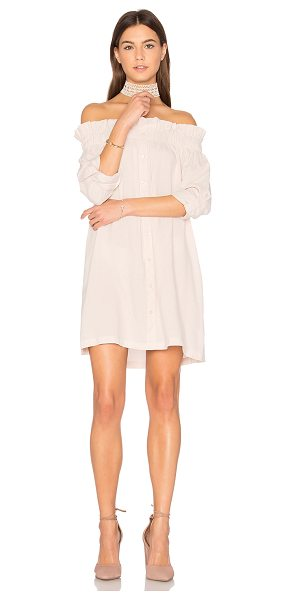 Minkpink Business Class Off Shoulder Dress in beige - Poly blend. Hand wash cold. Unlined. Elastic neckline....