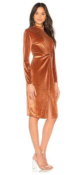 Minkpink Canyon Velvet Twist Dress in antique peach - 95% poly 5% elastane. Dry clean only. Unlined. Velvet...