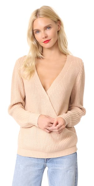 Minkpink carmen wrap front sweater in nude - A soft shaker knit composes this soft MINKPINK sweater....