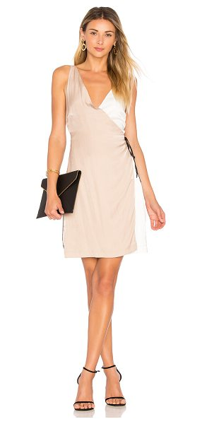 Minkpink Color Block Wrap Dress in beige - 50% poly 50% viscose. Hand wash cold. Fully lined. Wrap...