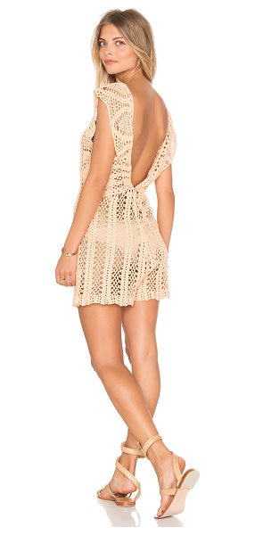 Minkpink Colour Me Crochet Romper in peach - 100% cotton. Hand wash cold. Unlined. Sheer crochet lace...
