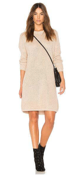 Minkpink Don't Cross Me Lace Up Knit Dress in beige - 55% cotton 45% acrylic. Hand wash cold. Unlined. Rib...