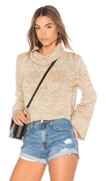 Minkpink Dutchess Full Sleeve Sweater in cream - 100% acrylic. Hand wash cold. Foldover neckline. Side...