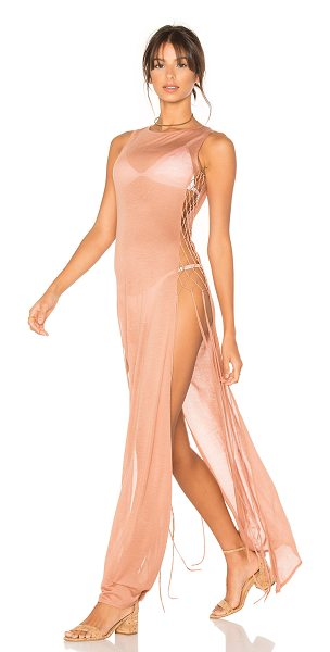 Minkpink Ember Knotted Jersey Maxi Dress in beige